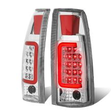 Replacement for Chevy/GMC C/K-Series Pair of 3D LED Tail Brake Lights (Chrome Housing Clear Lens)