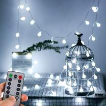 WERTIOO Battery Operated String Lights 33ft 100 LEDs Globe Christmas Lights with Remote Control for Outdoor/Indoor Bedroom,Garden,Christmas Tree[8 Modes,Timer ] (White)