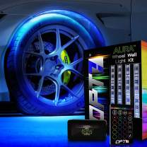 OPT7 Aura Wheel Well RGB LED Kit w/Wireless Remote, Multicolor Tire Rim Lights for Cars   3-Into-1 16+ Smart-Color Waterproof Strips w/SoundSync (Single Row)