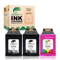 Coloretto Re-Manufactured Printer Ink Cartridge Replacement for HP 63 63XL 63 XL,Used in HP Envy 4520 4516 Officejet 5255 5258 4650 3833 5252 DeskJet 1112 3632 2130 3638 3639(2 Black+1 Tri-Color)