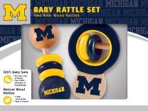 MasterPieces NCAA Michigan Wolverines, Natural Wood, Non-Toxic, BPA, Phthalates, & Formaldehyde Free, Baby Rattle, 2 Pack