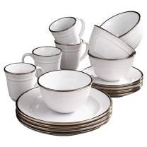 "Elle Décor Lucienne Casual Round Dinnerware Set – 16-Piece Stoneware Party Collection w/ 4 Dinner Salad Plates, 4 Bowls & 4 Mugs-Unique Gift Idea, 10.75"", White"