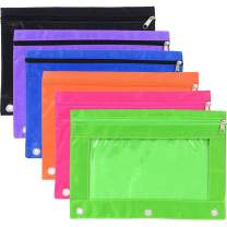 3-Rings Pencil Pouch Binder Pencil Bags Stationery Bag with Zipper and Clear Window for Office Supplies (6)
