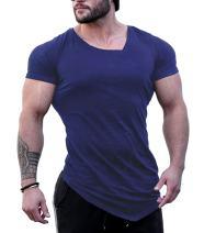 JINIDU Men's Workout Gym Shirt Muscle Training Short Sleeve Fitness T Shirt