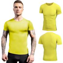 Compression Shirt Men Workout T-Shirts, Cool Dry Mens Running Tops Short Sleeve