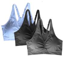 Cabales KINYAOYAO Women's Plus Size Ultimate Comfy Medium Support Sport Bra 3 Pack or 1 Pack