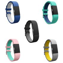 Teak - Silicone Sport Replacement Wristband for Fitbit Charge 2 - Universal Size, 5 Pack