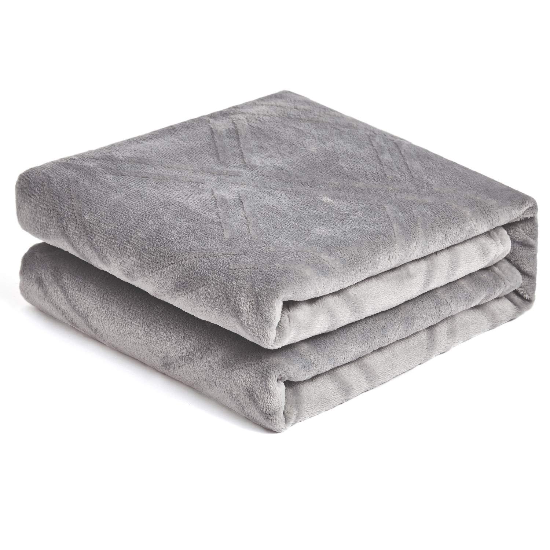 "HT&PJ Super Soft Lightweight Flannel Fleece Throw Blanket Microfiber Velvet Cozy Warm Throw Blanket for Living Room (Throw 50"" X 60"" Dark Grey)"