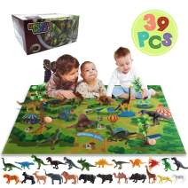 ZNCMRR Realistic Dinosaur Toys Activity Playset for 3,4,5,6 Year Old Kids Boys & Girls with 21 Dinosaur Figures, 9 Animal Figures, 3 Trees, 2 Dino Eggs and 1 Play Mat