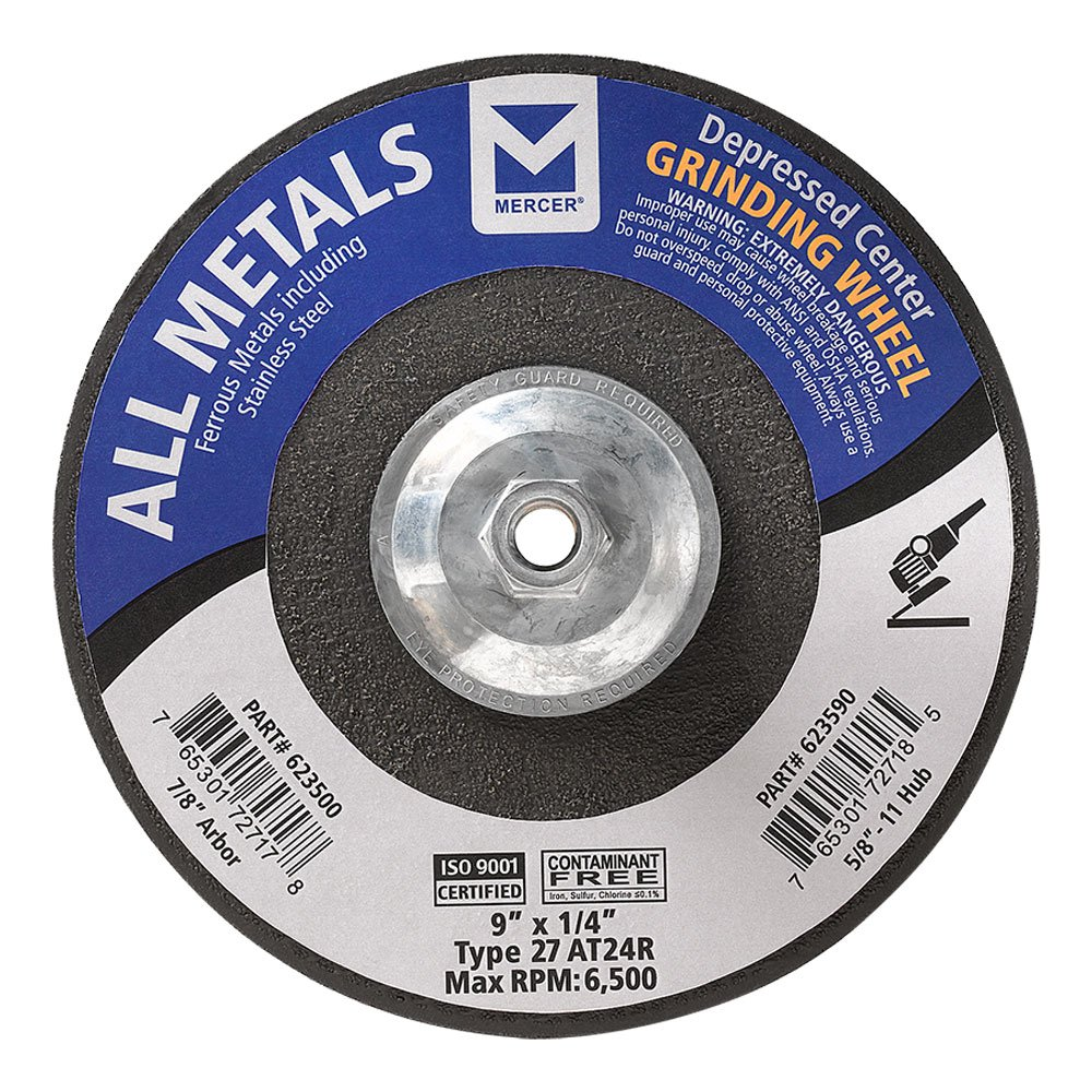 """Mercer Industries 623590 Type 27 Depressed Center Grinding Wheel, For All Metals, 9"""" x 1/4"""" x 5/8""""-11, 10-Pack"""