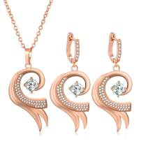 Jovivi 14K Gold/Rose Gold Cubic Zirconia Crystals Teardrop/Feather Necklace and Earrings Sets for Women Wedding Jewelry Brides & Bridesmaids Gifts
