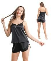 Women's V-Neck Satin PJS Sleepwear Sexy Black Night Wear 2PCS Cami Top Lingerie