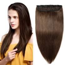 """Clip in hair extensions human hair one piece human hair extensions 5 clips 100% Remy Human Hair Straight Medium Brown 16""""(40cm) - 45g"""