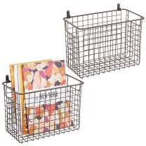 mDesign Portable Metal Farmhouse Wall Decor Storage Organizer Basket Bin with Handles for Hanging in Entryway, Mudroom, Bedroom, Bathroom, Laundry Room - Wall Mount Hooks Included, 2 Pack - Bronze