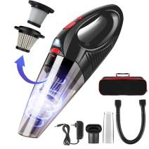 Helhunlee Handheld Vacuum Cordless, 120W 6Kpa Hand Held Vacuum Cleaner with 2.5h Quick Charge, Lightweight Rechargeable Portable Wet Dry Vac for Home Car Dust Pet Hair Cleaning (Black - 2019)
