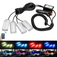 RGB Car Led Interior Strip Lights 4pcs App Controller Rock Lights RGB Color Music Under Dash Lighting Kit with Sound Active Function for iPhone Android Smart Phone (Footprint 4pc)