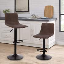 Sophia & William Counter Height Bar Stool Set of 2, 360 Degree Swivel Counter Stools Adjustable Height Modern Square PU Leather Bar Dining Chairs for Bar Kitchen Indoor Support 350lbs, Brown