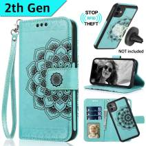 CASEOWL iPhone 11 Case, iPhone 11 Wallet Case 2 in 1 Detachable Slim Fit Car Mount,with Card Holder,Kick Stand,RFID Protection,Strap,Mandala Embossed Leather Wallet Case for iPhone 11-6.1'',Mint Green