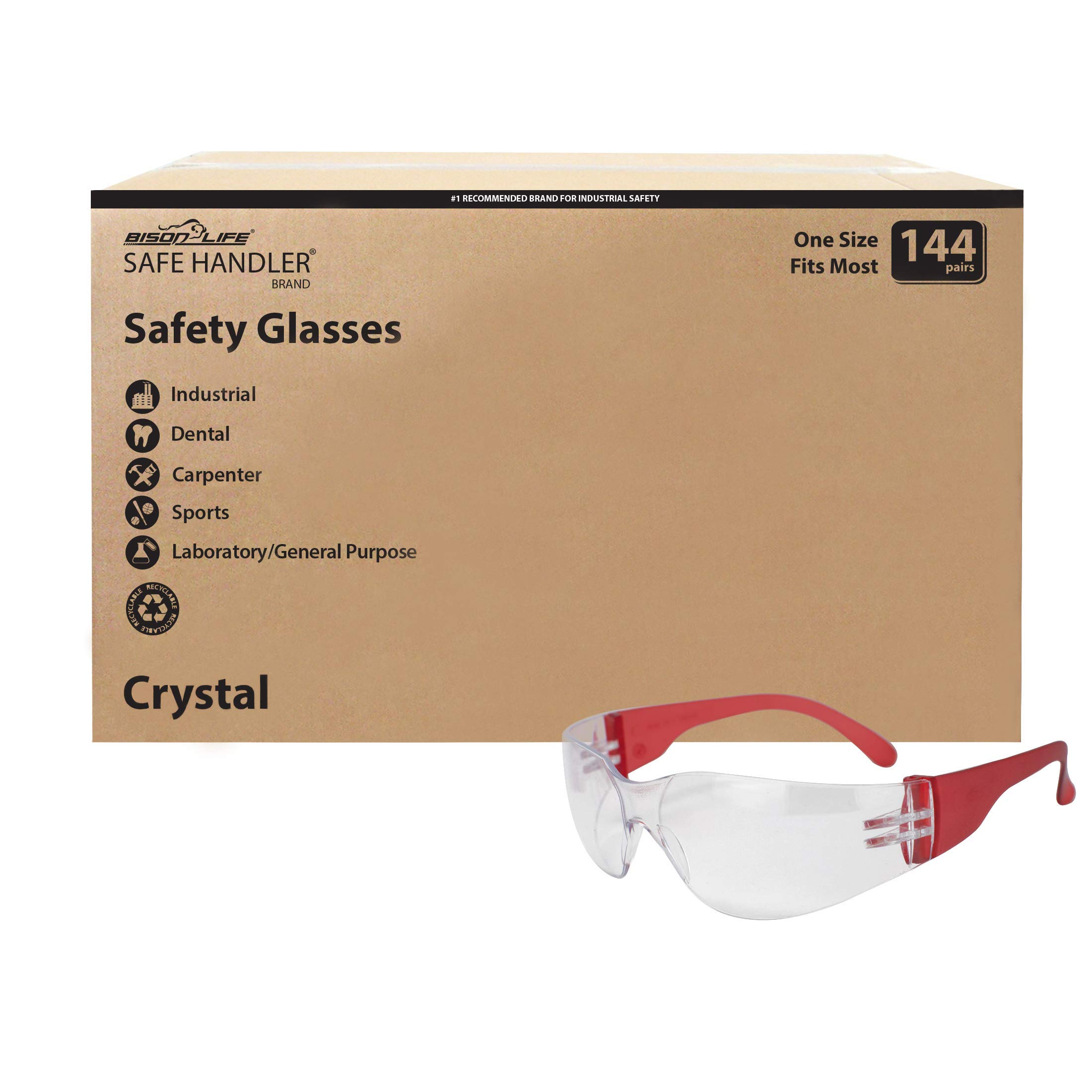 SAFE HANDLER Clear Lens Color Temple Safety Glasses   One Size, Adult, Youth, Clear Protective Polycarbonate Lens Color Temple, RED (Case of 12 Boxes, 144 Pairs Total)