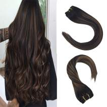 Sunny Black Balayage Clip Hair Extensions 16 inch Real Human Hair Off Black Ombre to Brown Mix Black Real Hair Clip ins Balayage Soft and Smooth 120g 7pcs