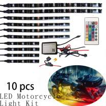 NBWDY 10Pcs Motorcycle LED Light Kit Strips Multi-Color Accent Glow Neon Ground Effect Atmosphere Lights Lamp with LED Music Bluetooth & IR RGB Controller for motorcycle,ATV,golf Car (Pack of 10)