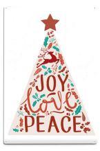 Lantern Press Joy Love Peace, Christmas Tree (12x18 Aluminum Wall Sign, Wall Decor Ready to Hang)
