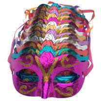 Arlai Pack of 12, Gold shining plated party mask wedding props masquerade mardi gras mask
