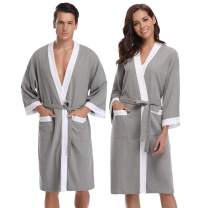 Aibrou Unisex Waffle Bathrobe Cotton Lightweight Nightgowns Sleepwear Spa Robe