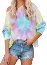 Eytino Women Tie Dye Printed Off Shoulder Tops Casual Loose Long Sleeve Pullower Sweatshirt Tops