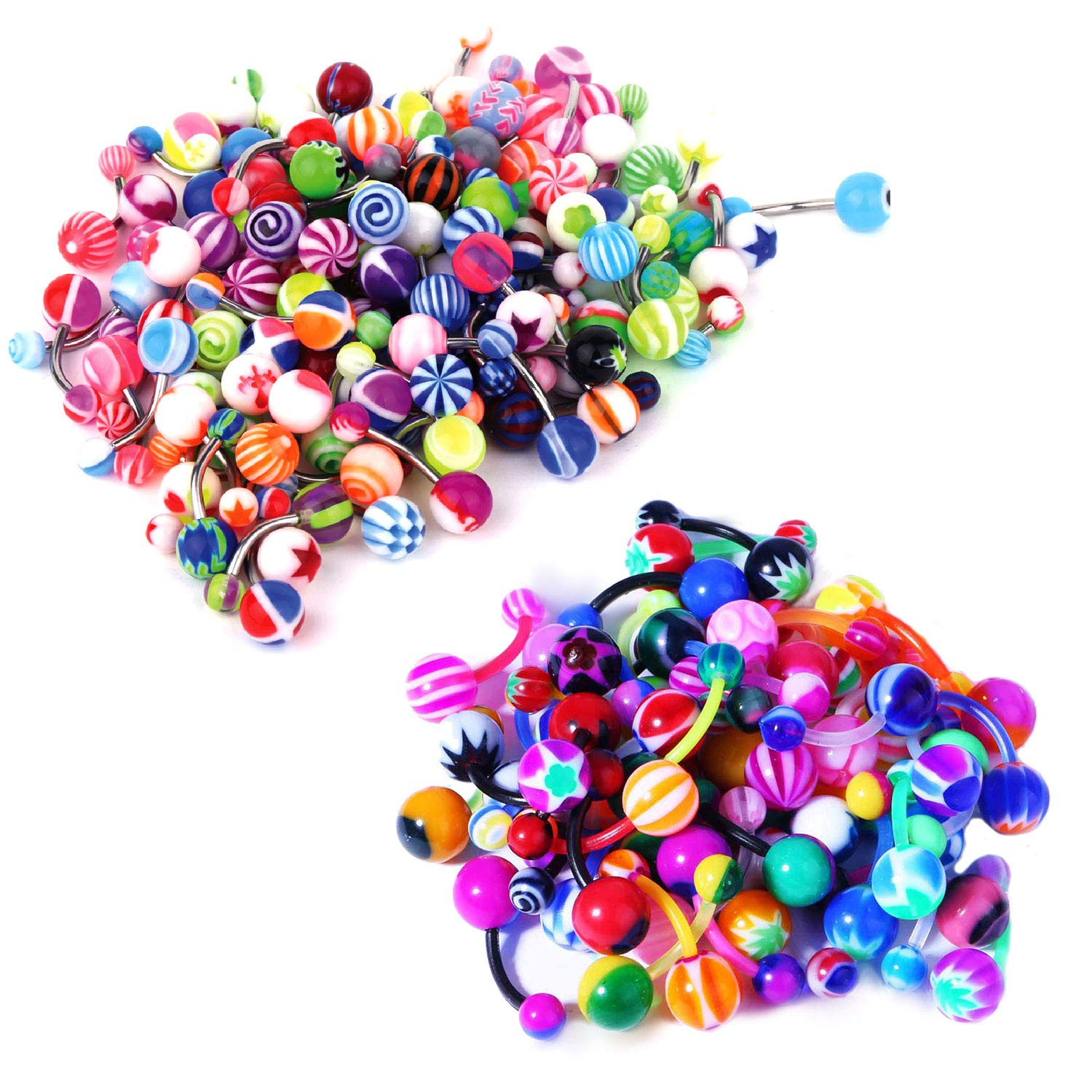 BodyJ4You 25PC Belly Button Rings Banana Barbells 14G Steel Flexible Bar Mix Color Body Jewelry