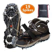 Vodche Crampons Ice Cleats Traction Snow Grips for Boots Shoes Anti-Slip 19 Spikes Stainless Steel Spikes Microspikes Safe Protect for Walking, Jogging, Climbing and Hiking