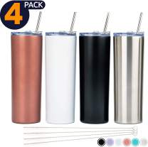 SKINNY TUMBLERS (4 pack) 20oz Stainless Steel Double Wall Insulated Tumblers with Lids and Straws | Skinny Travel Mug! Reusable Cup With Straw | Vinyl DIY Gifts (Rose Gold, White, Black, Silver)