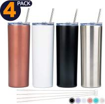 SKINNY TUMBLERS (4 pack) 20oz Stainless Steel Double Wall Insulated Tumblers with Lids and Straws   Skinny Travel Mug! Reusable Cup With Straw   Vinyl DIY Gifts (Rose Gold, White, Black, Silver)