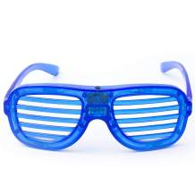 Fun Central LED Slotted Shades - Light Up Glasses for Adults & Kids Party Favors - Blue