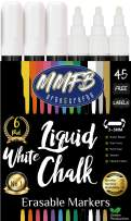 5mm Medium Tip Bright White Liquid Chalk Markers (6 Pens Size M) w/ 45 Chalkboard Labels, Wet Erase For Non-Porous Surface, Blackboards, White Pens, Reversible Bullet Chisel Tips w/Splinter Free Caps