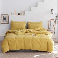 ECOCOTT 3 Pieces Duvet Cover Set 100% Washed Cotton 1 Duvet Cover with Zipper and 2 Pillowcases, Ultra Soft and Easy Care Breathable Cozy Simple Style Bedding Set (Macaron Yellow, Queen)