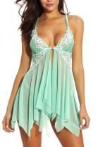 E-Laurels Women Lingerie Floral Lace Babydoll Strap Chemise V Neck Open Front Sleepwear Mesh Sheer Nightgown