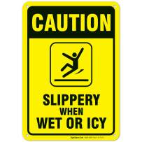 Slippery When Wet Or ICY Sign, Caution Sign, 10x7 Rust Free Aluminum, Weather/Fade Resistant, Easy Mounting, Indoor/Outdoor Use, Made in USA by SIGO SIGNS