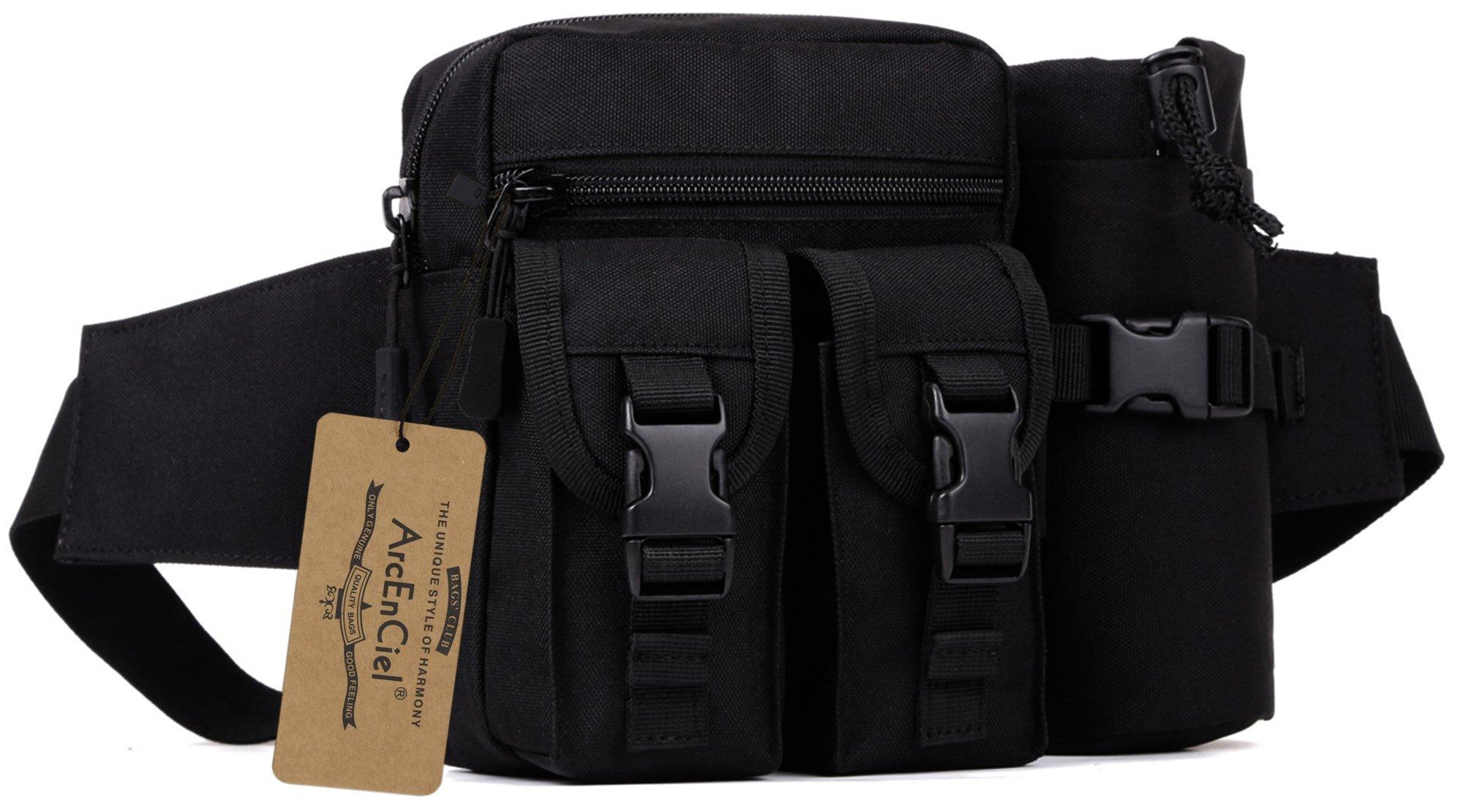 ArcEnCiel Tactical Fanny Pack Waist Bag Military Hip Belt Outdoor Fishing Bumbag with Water Bottle Pocket Holder