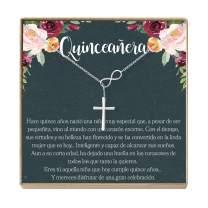 Dear Ava Quinceañera Gift Necklace: Regalos para Quinceañera, Jewelry, Sweet Fifteen, Infinity Cross