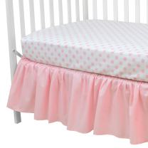 American Baby Company 100% Cotton Percale Standard Crib and Toddler Mattress Bundle, Pink Dots Fitted Sheet and Skirt, for Girls