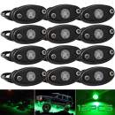 LEDMIRCY LED Rock Lights Green 12PCS Kit for Off Road Truck Auto RZR Car Boat ATV SUV Waterproof High Power Neon Trail Rig Lights(12PCS Green)