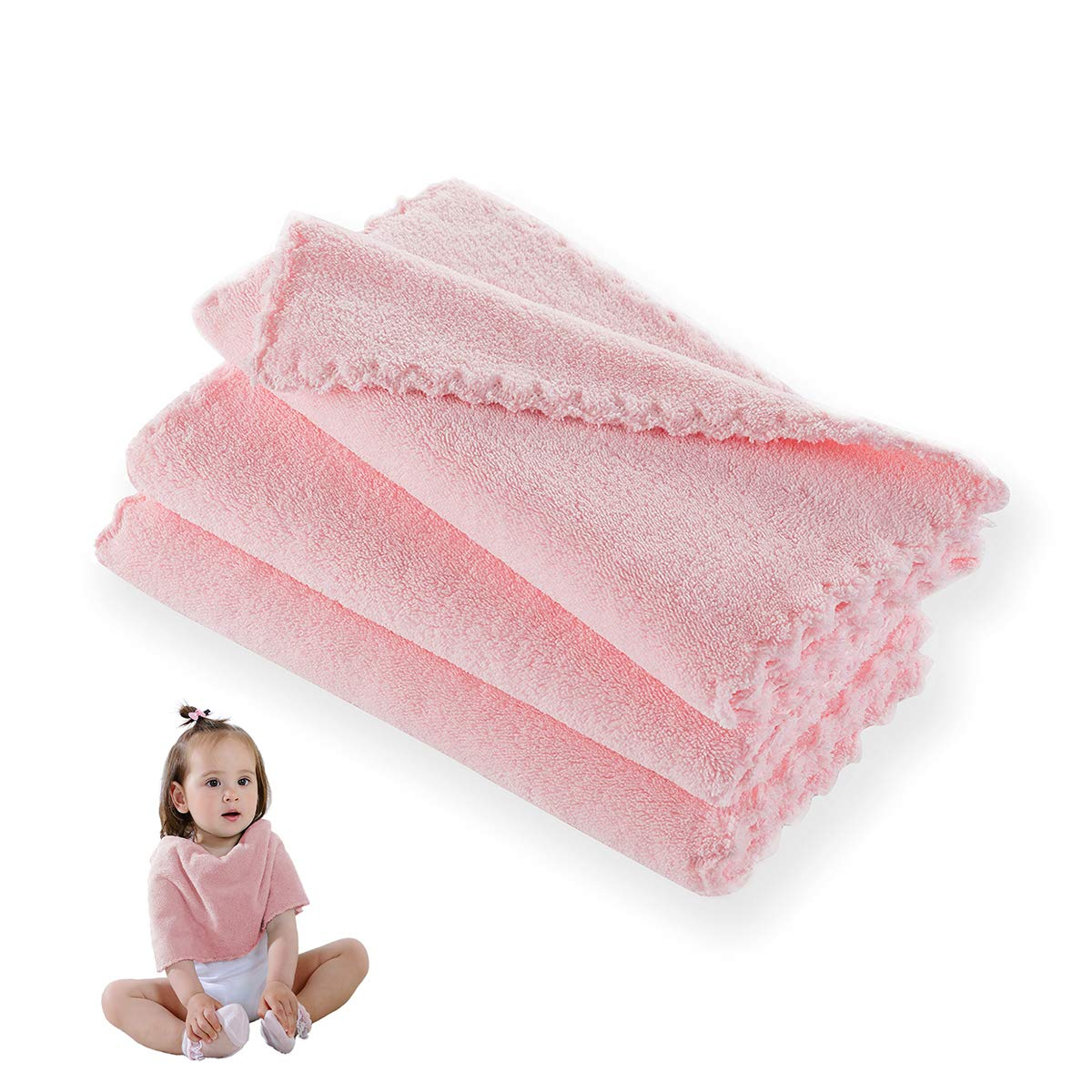Baby Washcloths Pack of 3 Premium Extra Soft & Highly Absorbent Face Towels 10 x 20 Inches Reusable Wipes Perfect Cloth for All Families – Light Pink