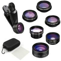 SEAUMOON Phone Lens Phone Camera Lens,7 in 1 Phone Lens Kit,198° Fisheye Lens+15X Macro Lens+0.63X Wide Angle Lens+2X Telephoto Lens+CPL Mobile Phone Lens+Kaleidoscope Lens+Star Filter Lens