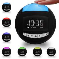 Bedroom Alarm Clock with FM Radio, 7-Color Night Light, 3 Natural Alarm Sounds, Sleep Timer, 2 USB Charging Ports, 12/24 H,Battery Operated/Plug in Digital LED Clock for Kids, Kitchen,Nightstand