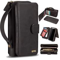 """XRPow Case for iPhone Xs Max [2 in 1] Wallet Case Magnetic Detachable Cover Zipper Purse Clutch [Vegan Leather] iPhone Xs Max Flip Case (6.5"""") with [11 Card Holder] [Mirror] - Black"""