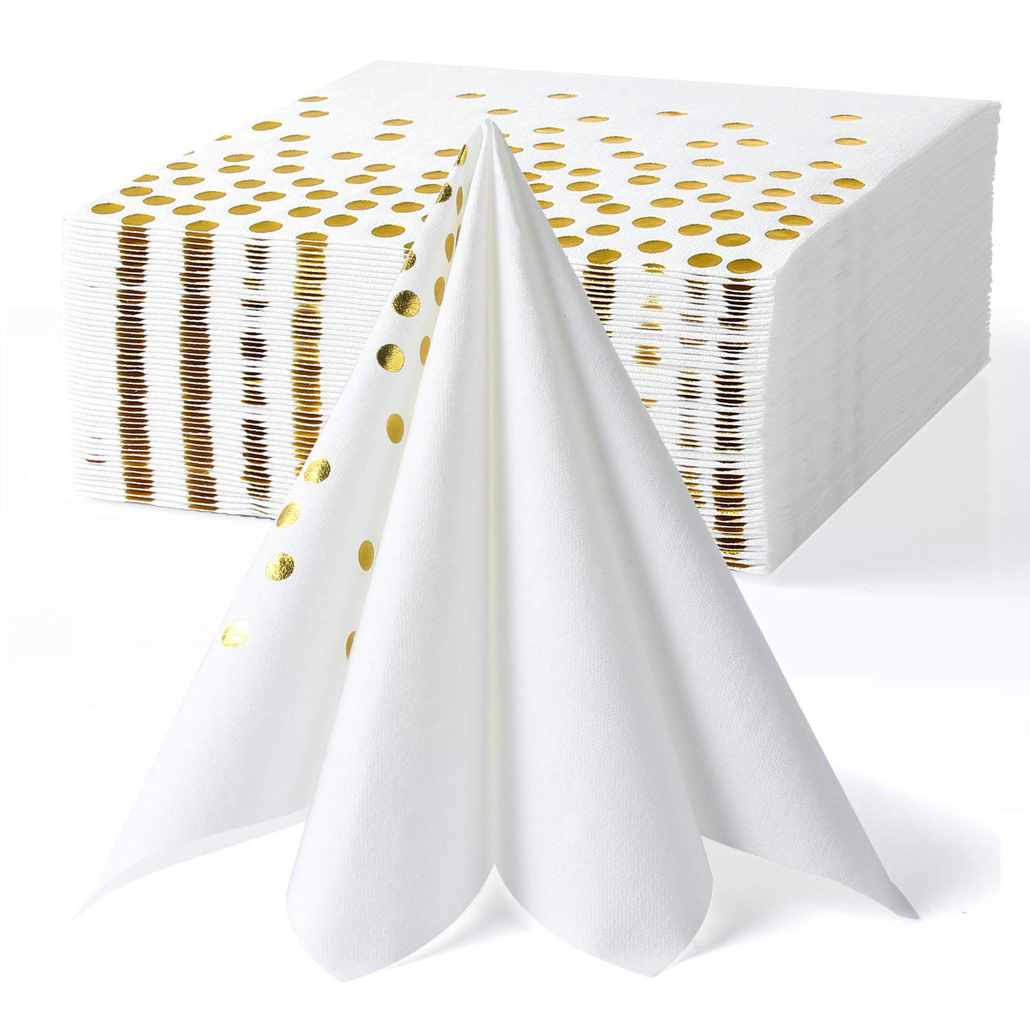 Lekoch White and Gold Napkins,Disposable Cloth Feel Dinner Napkin,Stamped with Sparkly Gold Foil Dots for Birthday,Party,Banquet,Anniversary,50 Pack