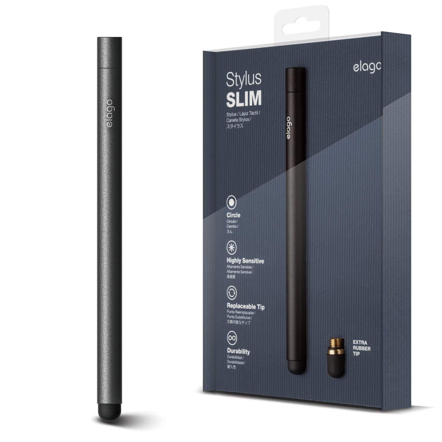 elago Stylus [Slim][Black] - [Premium Aluminum ][Replaceable Tip][Extra Tip Included] - for iPad, iPad Pro, iPad Mini and iPhone