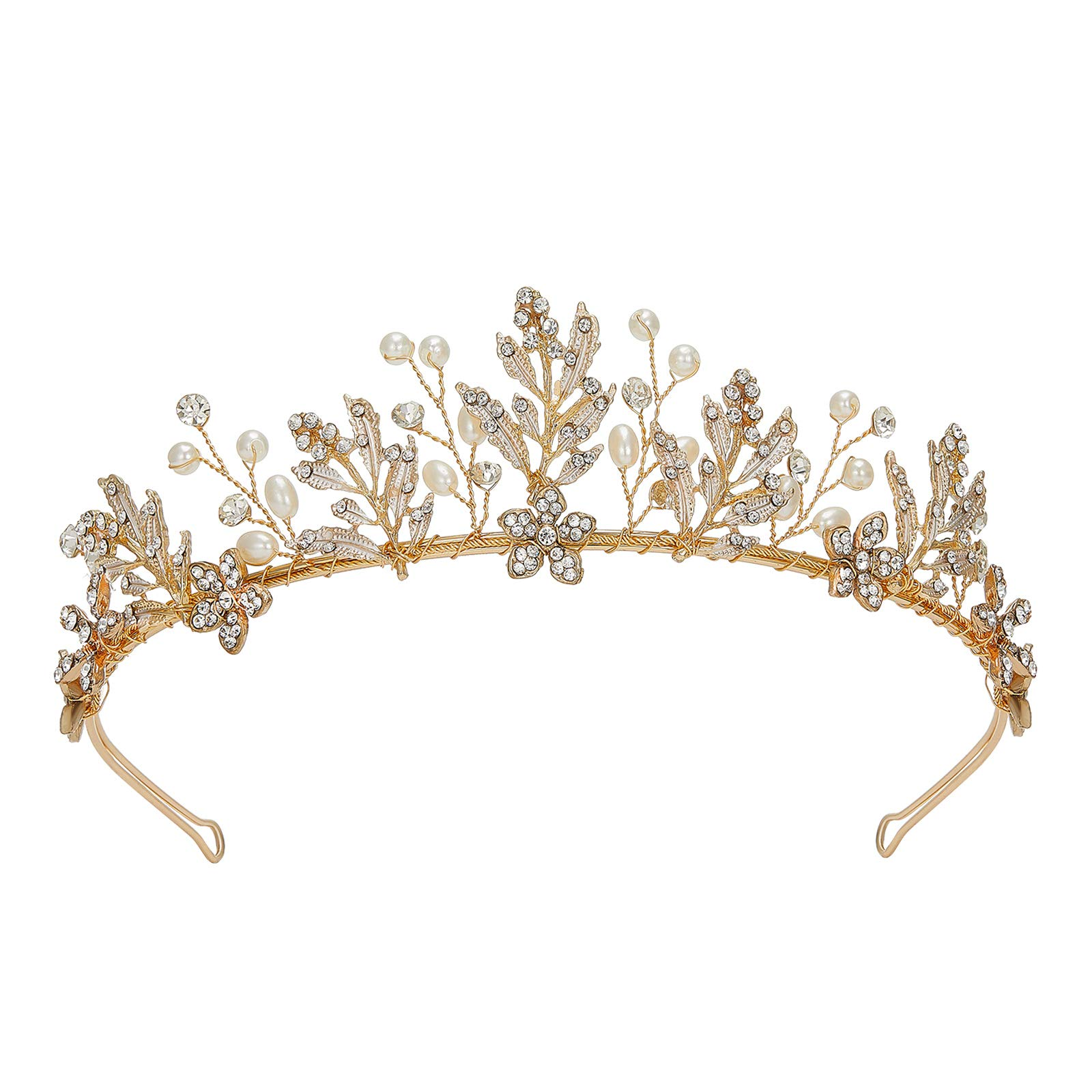SWEETV Handcrafted Wedding Tiara for Bride, Gold Tiaras and Crowns for Women, Bridal Headband Hair Accessories, Metal Birthday Quinceanera Pageant Prom Headpieces