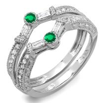 Dazzlingrock Collection 14k Round & Baguette Emerald and White Diamond Ladies Anniversary Wedding Enhancer Guard Band, White Gold
